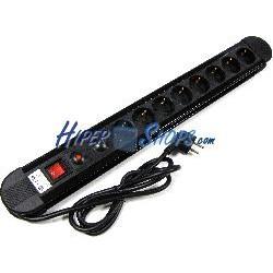 Regleta de enchufes 8 schuko con interruptor y protección sobretensiones (1.5m cable)