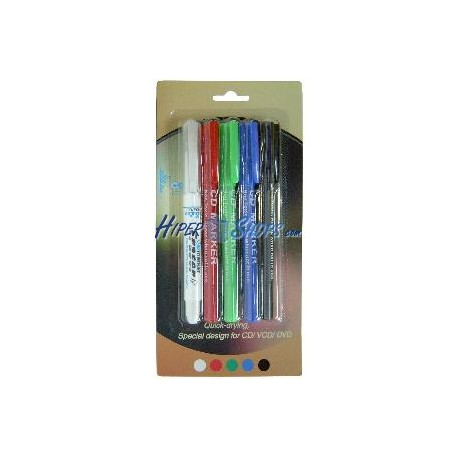 Rotulador marcador para CD con 4 colores y borrador