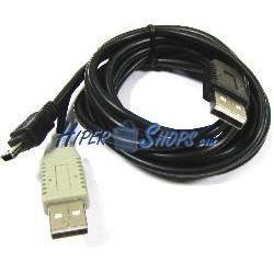 Cable USB 2.0 de doble alimentación 2AM a miniUSB 1.2m