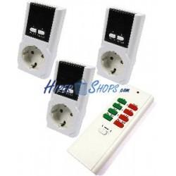 Enchufe por control remoto con luz piloto (kit 3 enchufe y 1 mando)